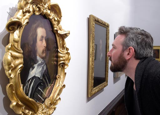 Join and Support, member of the public looking at the Sir Anthony van Dyck self-portrait