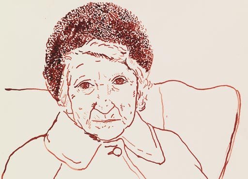 David Hockney, Mother, Bradford. 19 Feb 1979, Sepia ink on paper, 14 x 11, © David Hockney, Photo