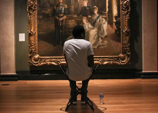 Events Calendar, visitor drawing infront of painting